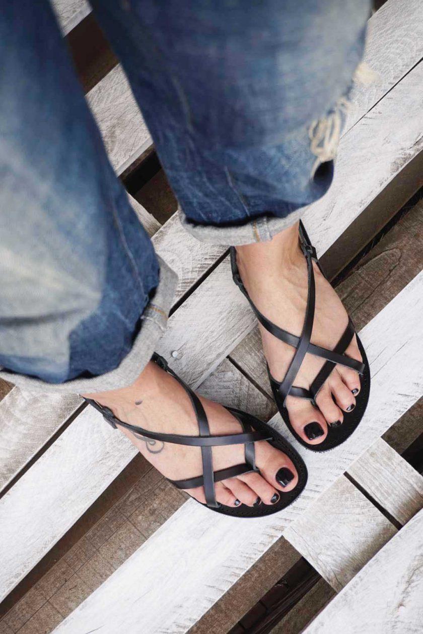 Sandały damskie ze skóry naturalnej FUNKY FEELING, czarne