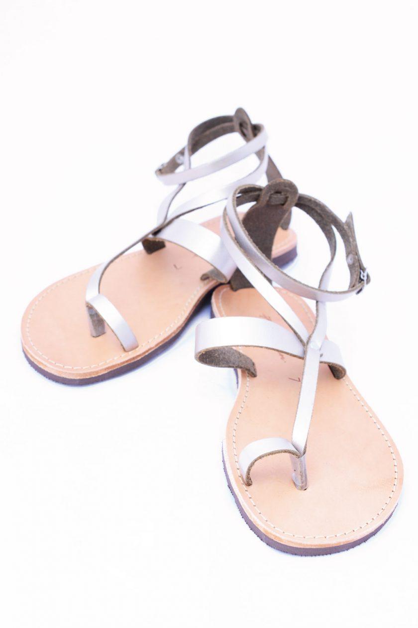 Sandały damskie ze skóry naturalnej FUNKY TOUCH, odcień metaliczny