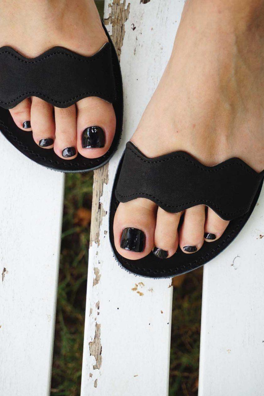 Sandały damskie ze skóry naturalnej FUNKY VIBE, czarne