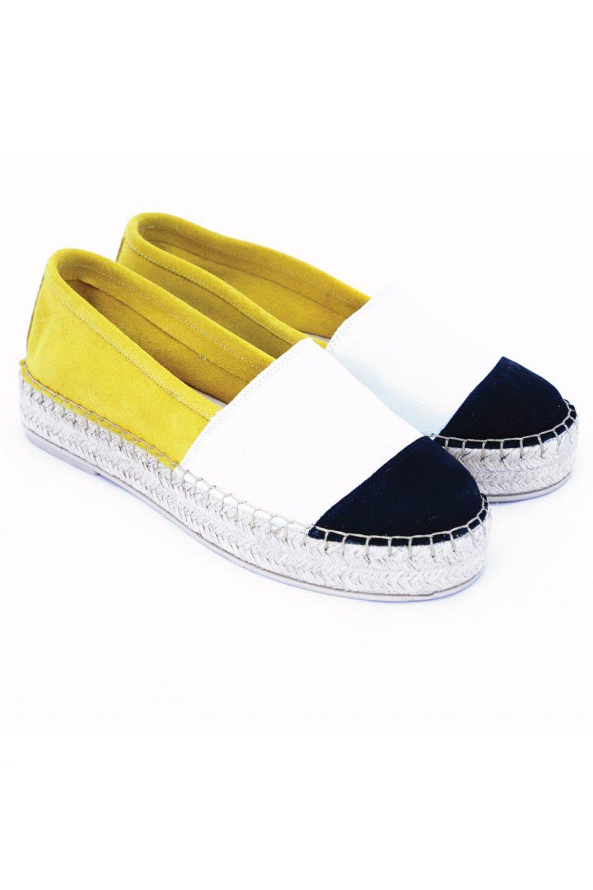 Skórzane espadryle SO FUNKY w kolorze białym i żółtym