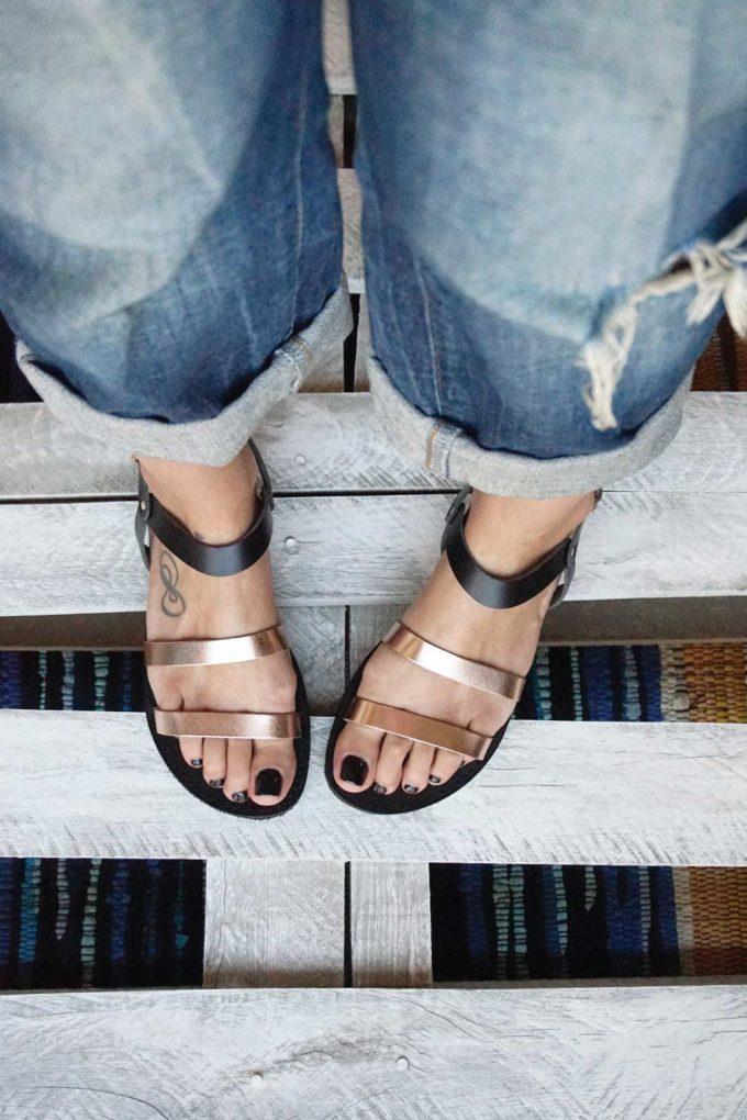 Płaskie sandały FUNKY CHIC, brąz