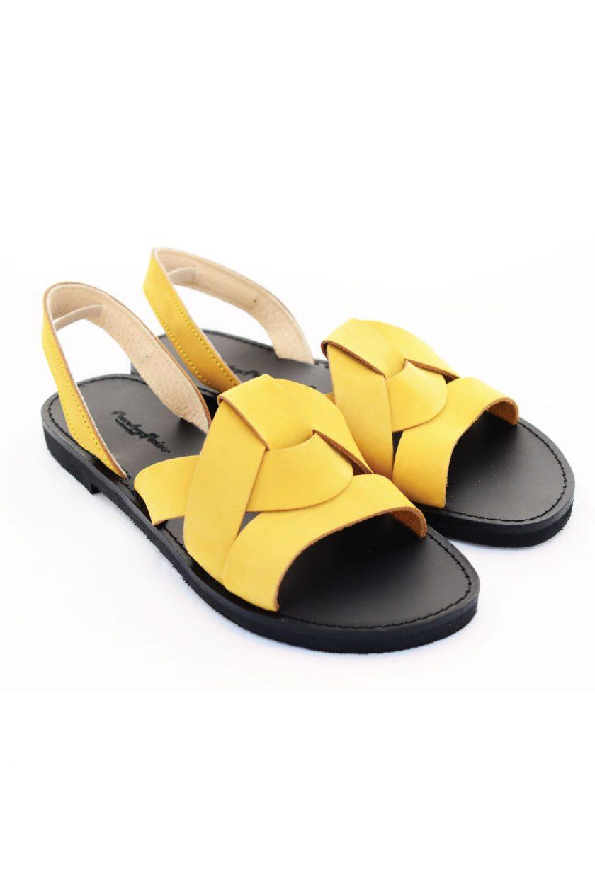 Sandały damskie FUNKY CITY, musztardowo – żółte
