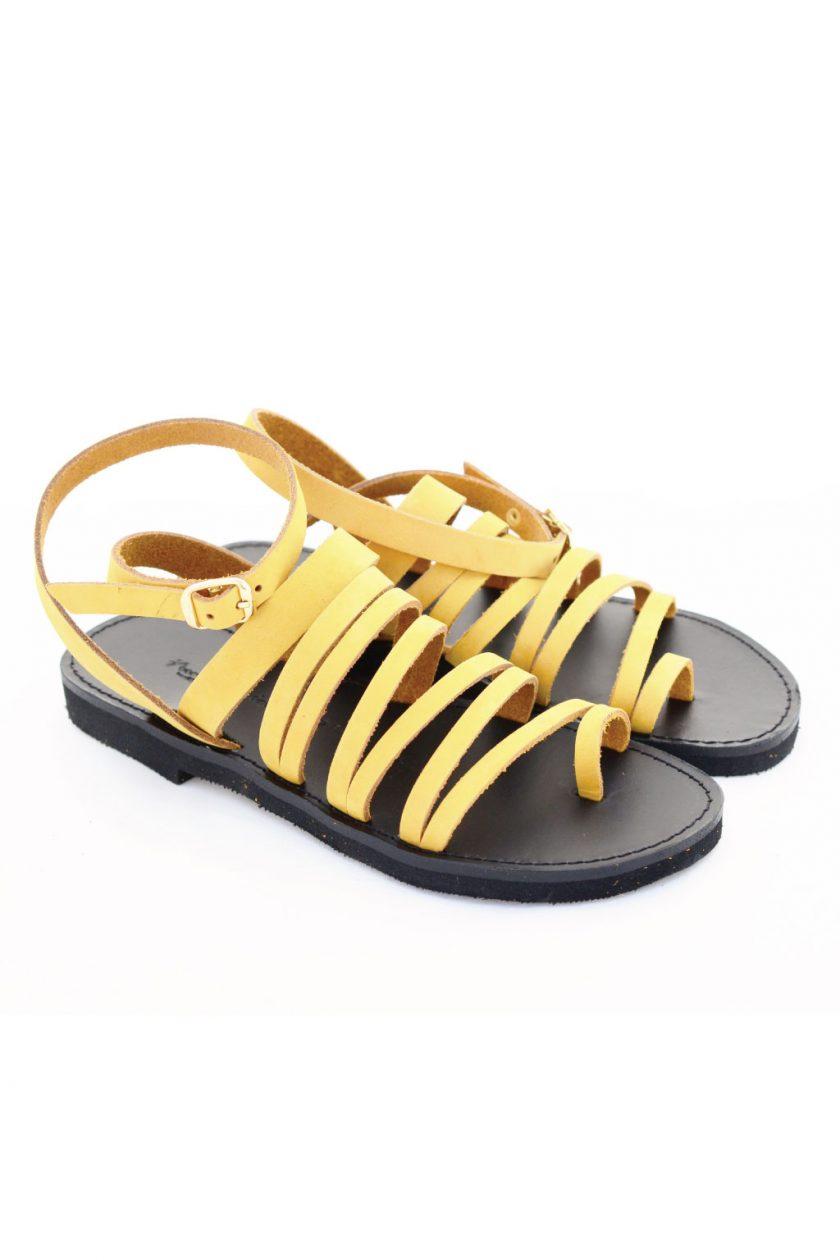 Sandały ze skóry naturalnej FUNKY FIT, musztardowo – żółte