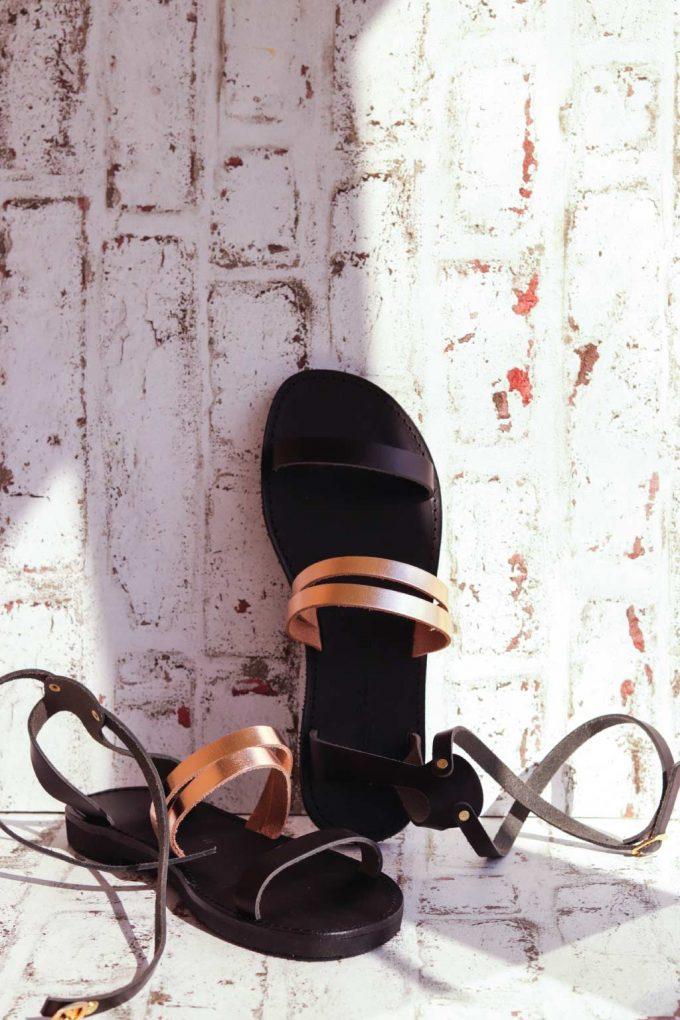 Sandały ze skóry naturalnej FUNKY GLAM, brąz