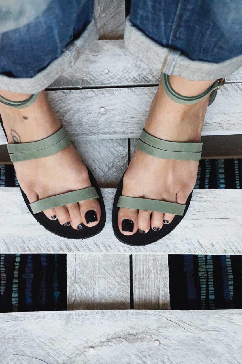 Sandały ze skóry naturalnej FUNKY GLAM, zielone