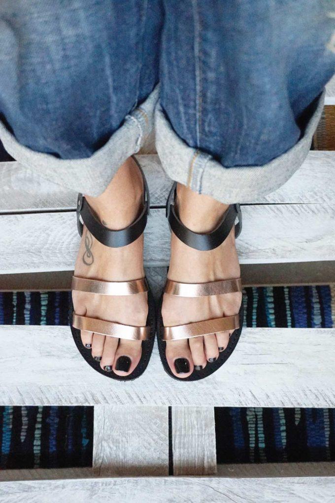 Sandale cu talpă joasă FUNKY CHIC, bronz